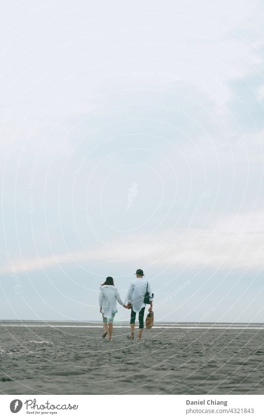 Couple Walking On The Empty Beach couple love Romance Love Relationship Infatuation Happy Together Lovers Trust Affection Harmonious Summer Emotions Related