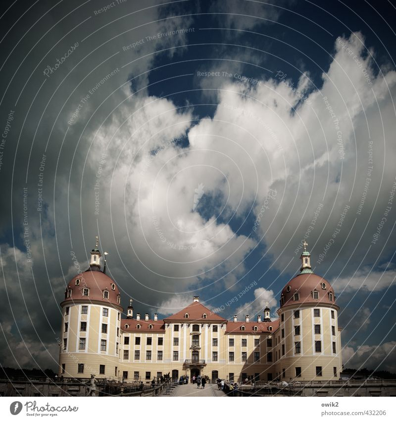 Resting in oneself Sky Clouds Horizon Climate Beautiful weather Castle Moritzburg castle Manmade structures Building Architecture Tourist Attraction Fat Large