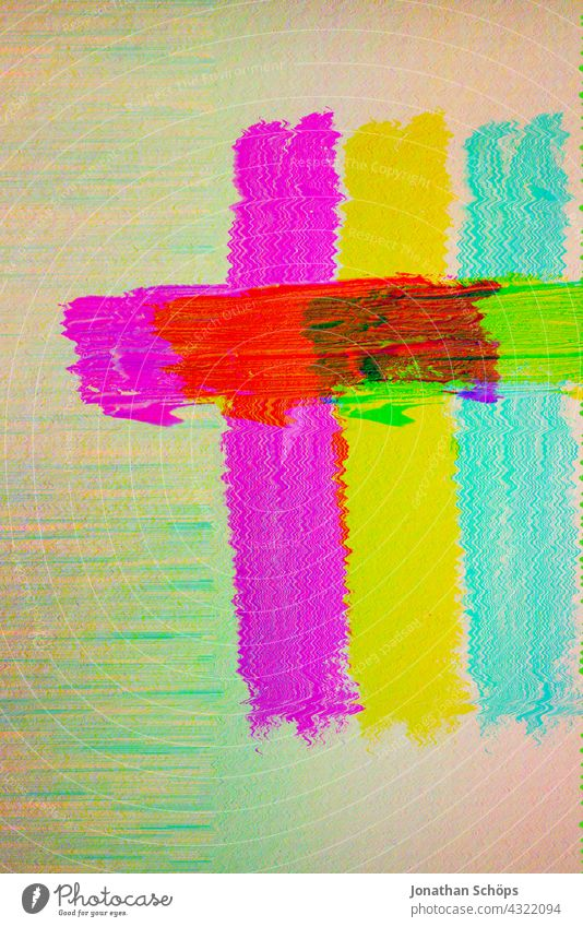 colorful painted cross on paper multicolor glitch effect Close-up Interior shot Colour photo Reduced Jesus Christ God Salvation Paper Painted Death Grief