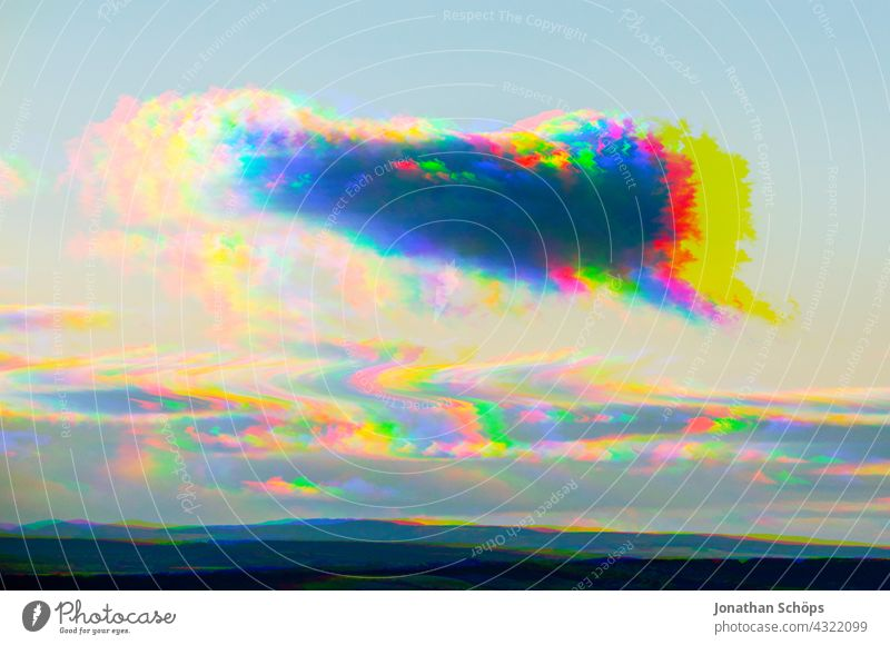 Sky phenomenon cloud as speech bubble with glitch effect Transcendence sunny Summer psychedelic Dimension glitch art distortion vibration system errors