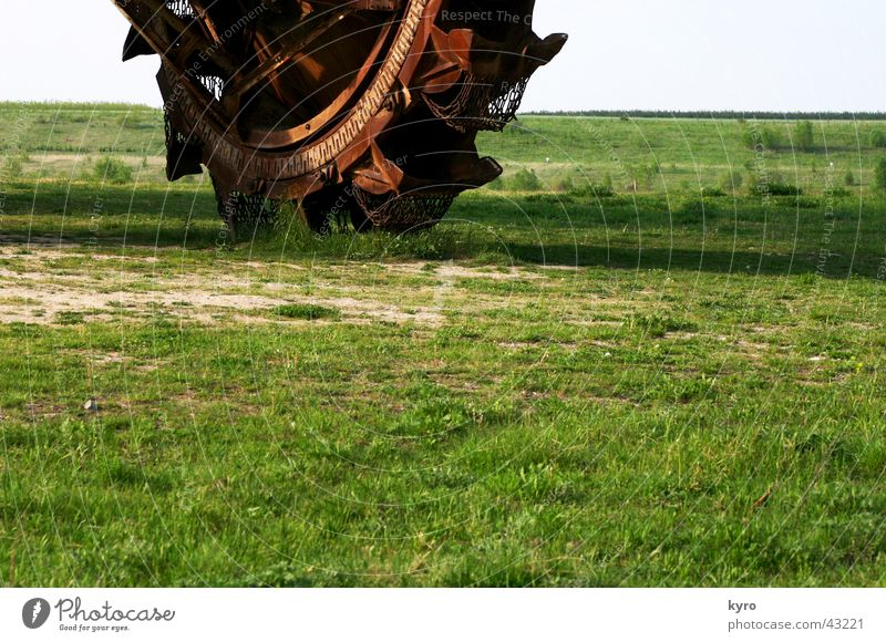 Nature Green Work and employment Meadow Large Earth Round Relationship Excavator Dismantling Partially visible Mining Saxony-Anhalt Lignite Mechanical shovel