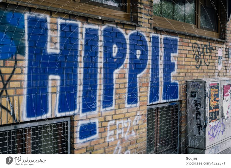word 'hippie' painted on a house wall| drawn & painted Hippie Graffiti Characters Wall (building) Facade Wall (barrier) Exterior shot Deserted