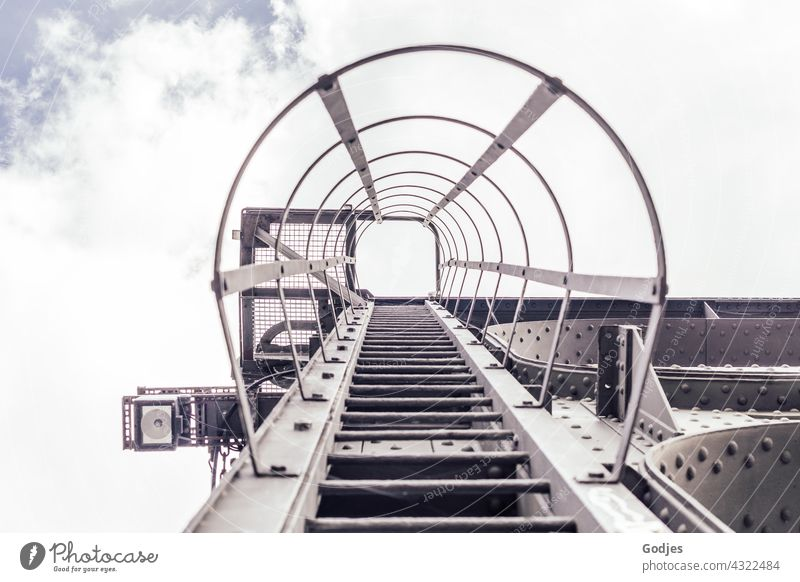 Steel ladder Ladder Rung Exterior shot Deserted Upward Colour photo Day Stairs Wall (building) Go up Sky Copy Space top Tall Above Metal Climbing Downward