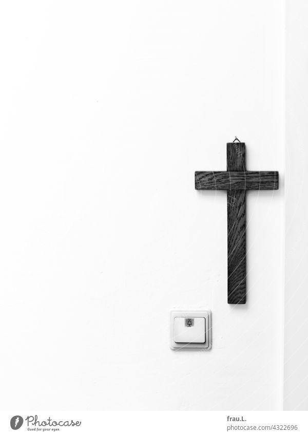 A cross with bell door Belief Religion and faith Wooden cross Christianity Doorbell Wall (building) atheism apartment door