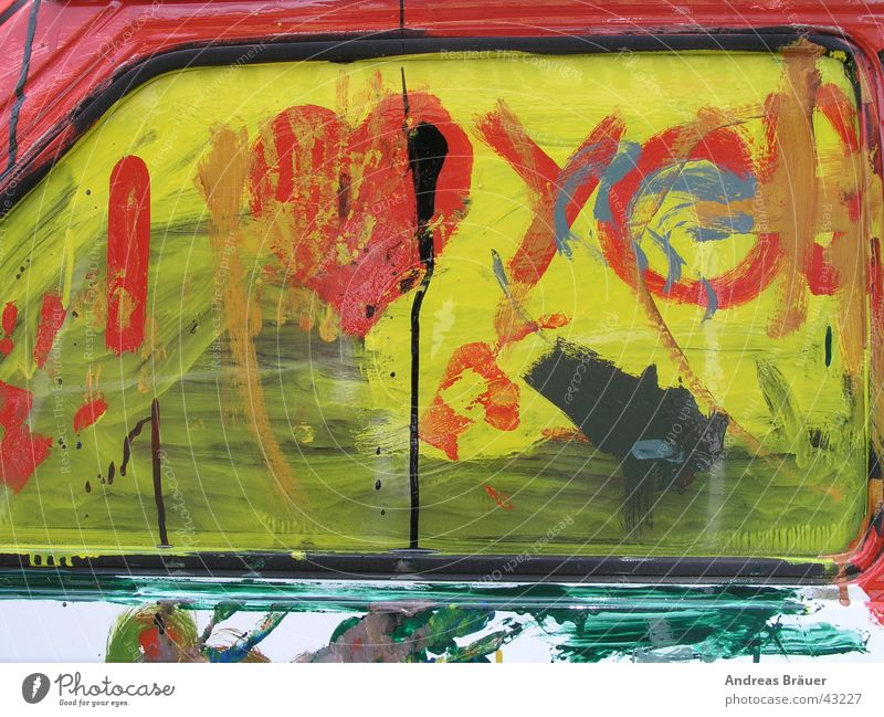 Green Red Love Yellow Colour Car Car door Event Painting and drawing (object) Window pane Photographic technology