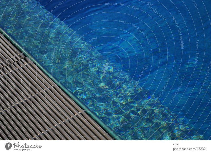 summertime Swimming pool Summer Edge Light Diagonal Chlorine Leisure and hobbies Blue Water Reflection Rod