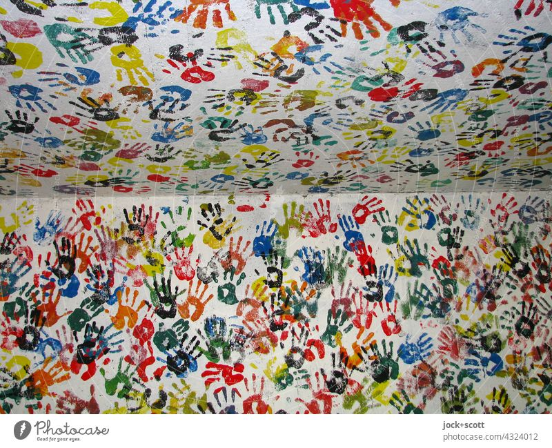 drawn & painted | hand by hand in every corner on every wall Hand Street art Wall (building) Imprint Touch Together Many Society Inspiration Teamwork