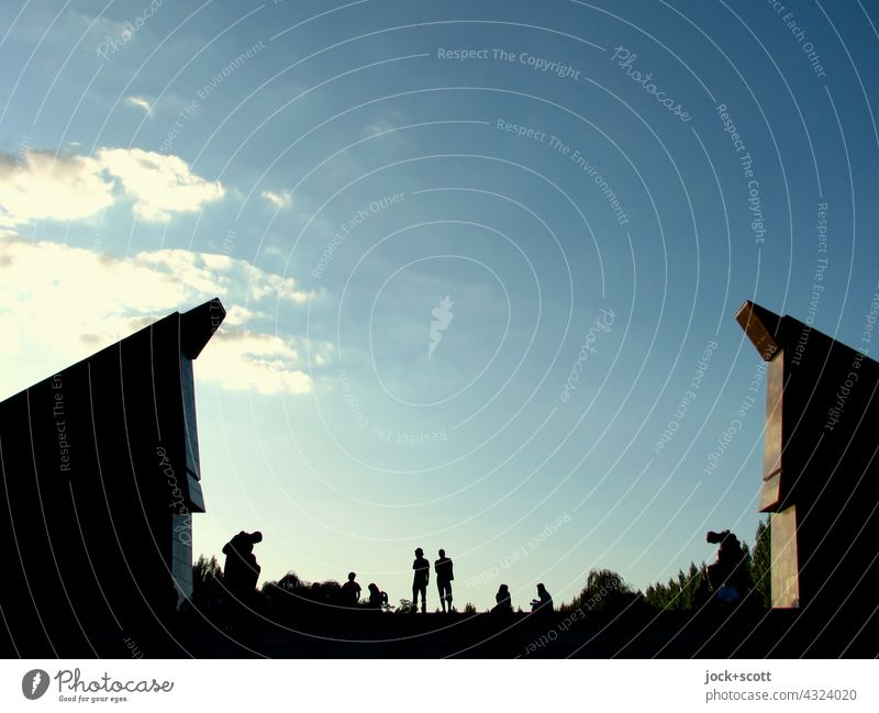 summer day at the memorial Soviet Memorial Monument Back-light Sunlight Silhouette people Tourist Attraction Summer's day Beautiful weather Dusk