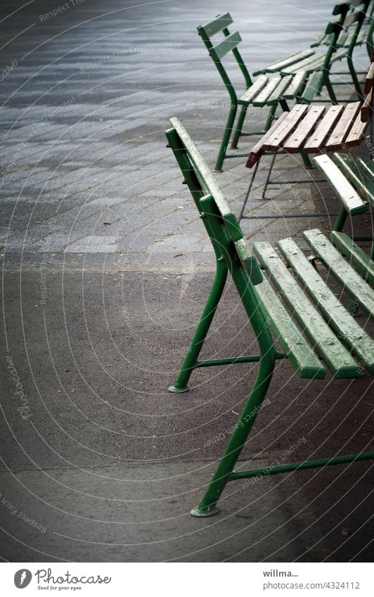 Order in chaos - turning points in banking strategy benches Bench corona gap Turning Points strategically Seating Empty unmanned Garden bench Places Deserted