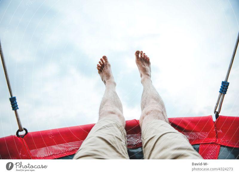 Freedom - rocking towards the sky To swing feet Sky Feet up Relaxation Swing Serene Man Joie de vivre (Vitality) fun Joy Childhood memory Tall