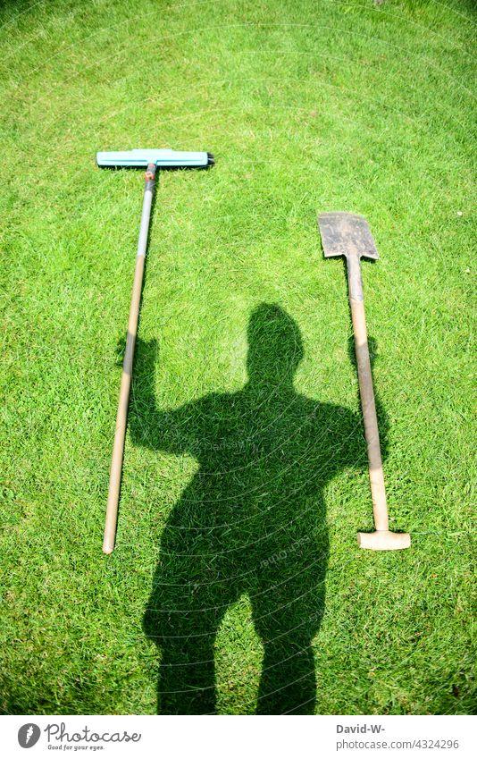 Gardening - gardening tools are ready garden tool Broom Spade Man Shadow hobby gardeners Gardener creatively Work and employment