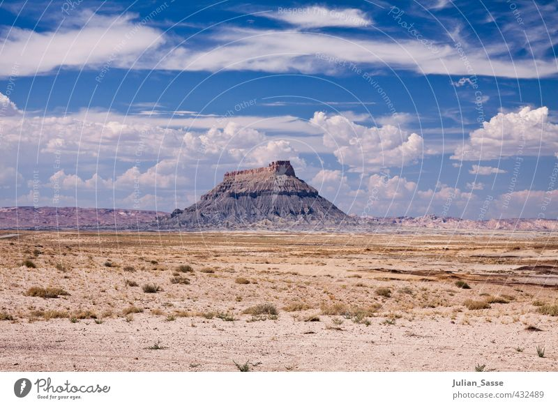 monolith Environment Nature Landscape Elements Sky Clouds Summer Beautiful weather Hot Arizona Steppe Sparse Mountain Rock Large Loneliness Minimalistic