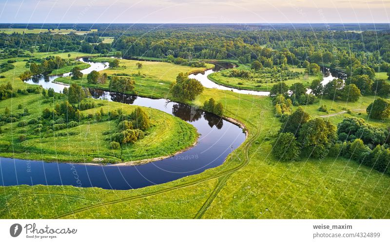 Meander evening panorama. Oak trees on Svilsoch riverbank. Summer sunny landscape summer nature green aerial forest water oak background beautiful view grass