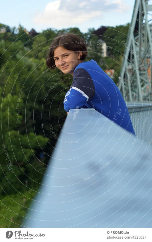 Girl on the bridge railing Youth (Young adults) teen Looking portrait Green Blue Smiling cheerful