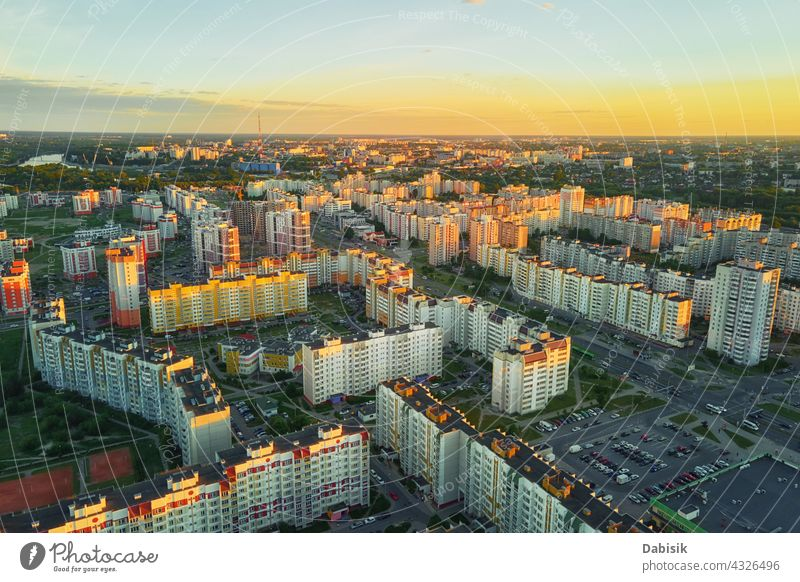 Aerial view of city residential district at sunset town street architecture aerial gomel belarus aerial view building cityscape country destination europe