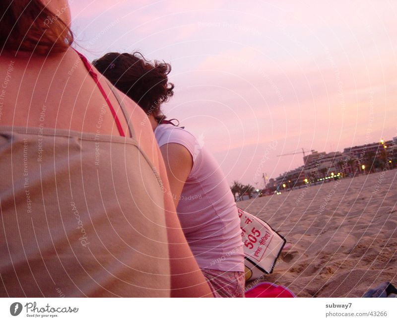 Woman Human being Sun Vacation & Travel Beach Ocean Sand Group Coast Friendship Feasts & Celebrations Leisure and hobbies Back Europe Spain Dusk