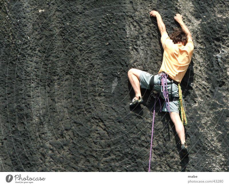 climbing in elbsandstein Free-climbing Elbsandstein region Saxony Switzerland Extreme sports Climbing Rock sport climbing
