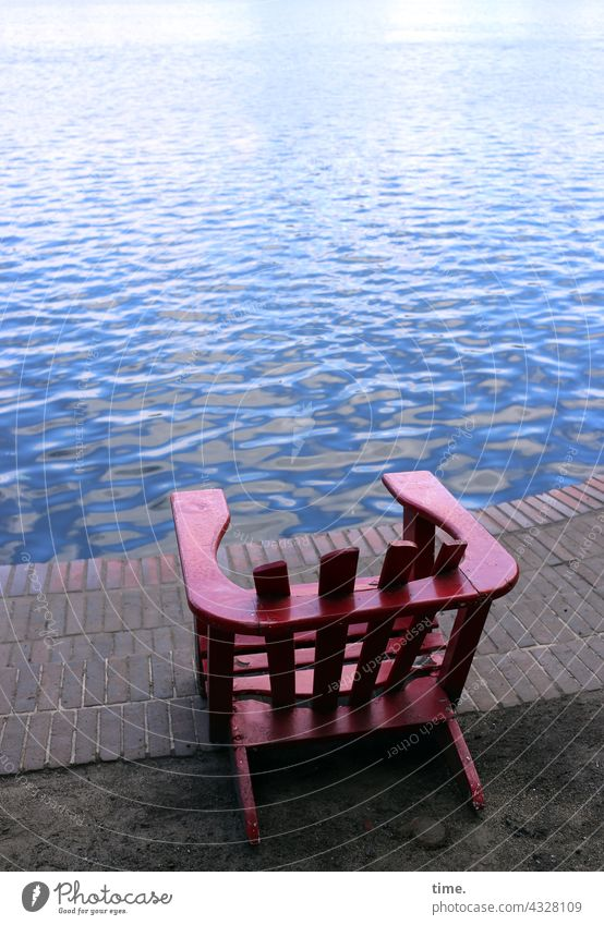 ParkTour HH21 | chill area Chair tranquillity Water Lake Brick bank Sit Red stable Swell Far-off places unmanned Lonely Empty Free