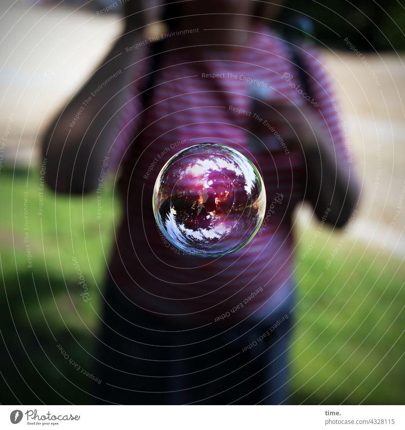 ParkTourHH21 | The world in a sphere (return) Soap bubble Woman Meadow Penumbra sunny reflection effect shine mirror