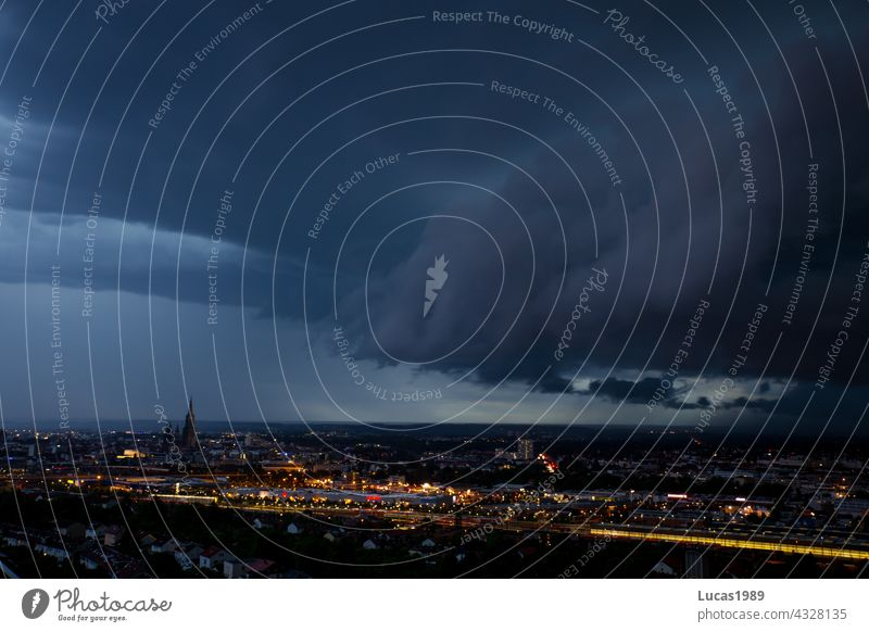 Thunderstorm over Ulm Night Ulm Cathedral Town Long exposure urban Storm Storm clouds Thunder and lightning Rain clearer Baden-Wuerttemberg Downtown city