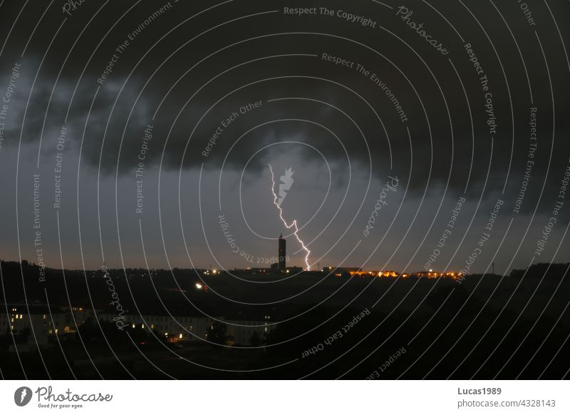 Lightning strikes Ulm Lightning bolt Night Town Long exposure urban Storm Storm clouds Thunder and lightning Rain clearer Baden-Wuerttemberg Downtown city Mill