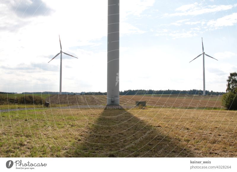 Wind turbines cast thick shadows windmills Renewable energy Wind energy plant Energy industry Pinwheel Sky Environmental protection Electricity Technology