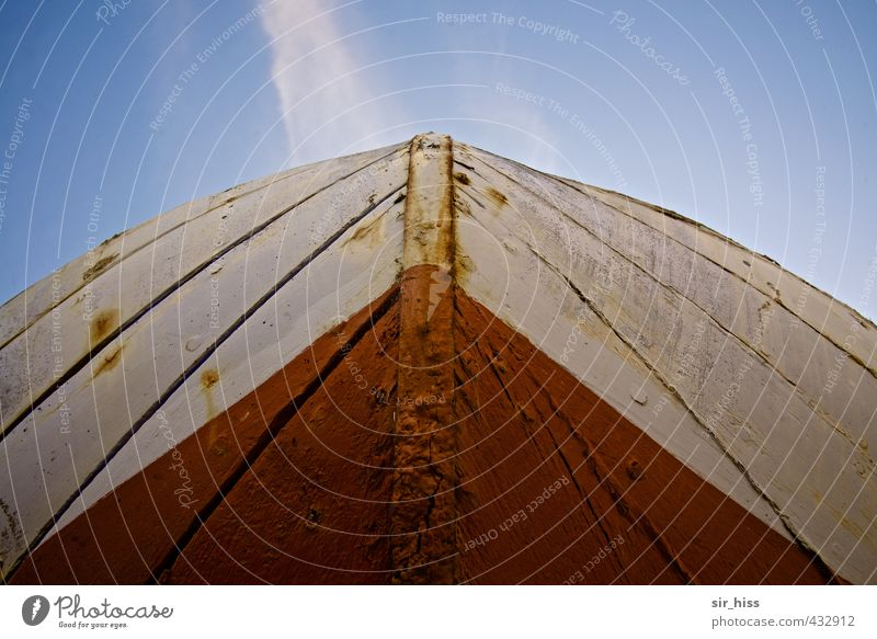 stem Navigation Fishing boat Sailboat Keel fuselage Plank Rust Stripe Old Historic Point Blue Brown Red White Upward Sky blue Hull Front view