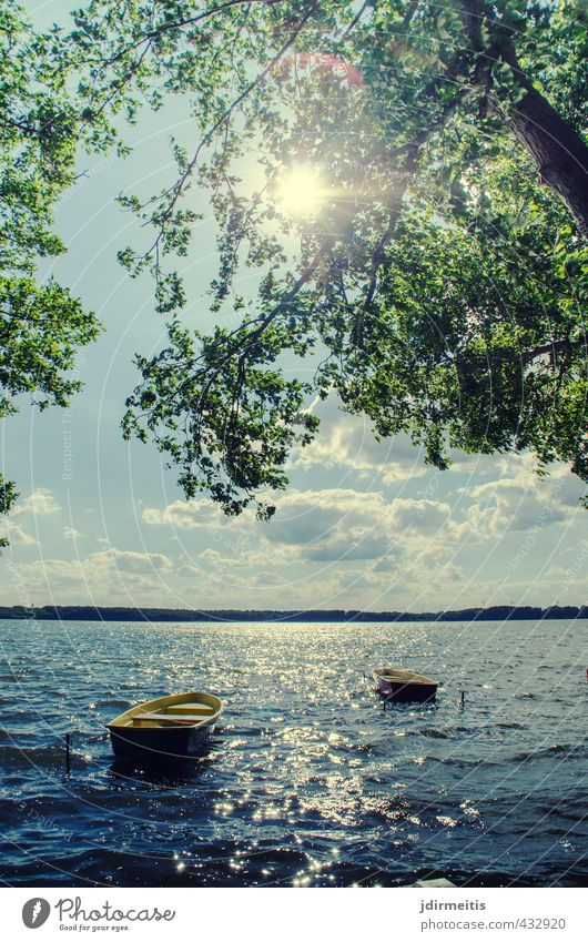 boats Vacation & Travel Summer Sun Waves Lake Nature Landscape Water Sky Clouds Beautiful weather Wind Tree Lakeside Rowboat Relaxation Leisure and hobbies