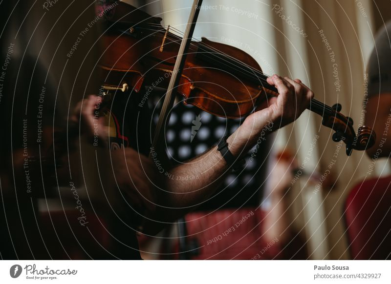 Musician playing violin Violin Violinist Musical instrument String instrument concentration skill Classical Colour photo Orchestra Wood Make music