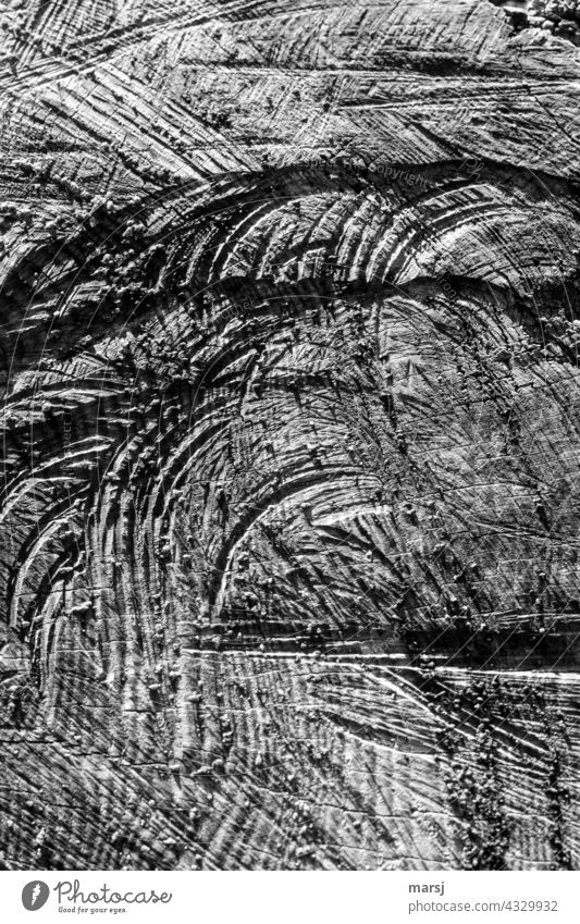 Traces of the saw on cut log. Texture of wood Wood grain naturally Broken rutted Abstract Authentic Annual ring cutting marks Structures and shapes Contrast