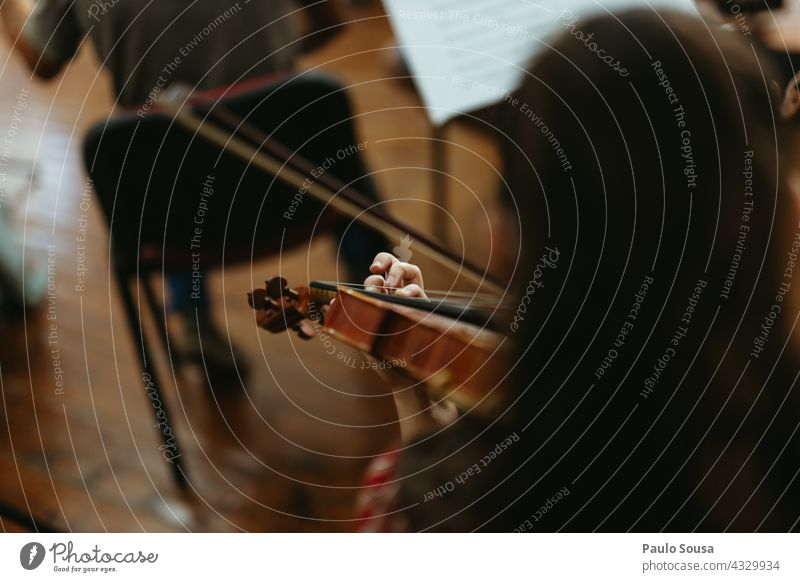 Girl playing violin Violin Violinist Unrecognizable String String instrument Music Musician Musical instrument skill Concentrate Close-up Classical Make music