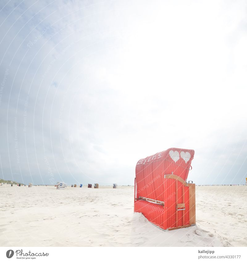 island love Beach chair Red Love Heart Vacation & Travel Amrum Basket tranquillity Sex Ocean coast Summer Sand Baltic Sea North Sea Relaxation Blue Tourism Sky