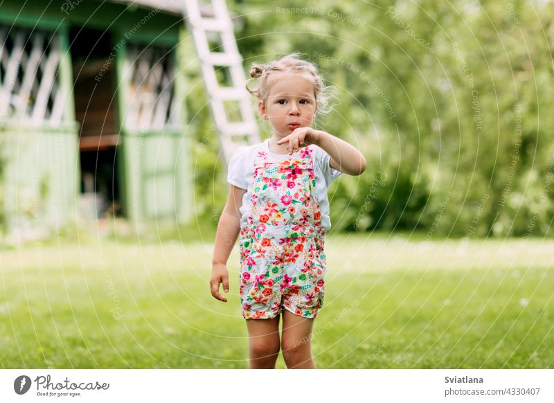 a little girl is playing in the garden, blowing on her hand. Childhood, summer time, outdoor games baby grass smiling outdoors happy child park kid fun nature