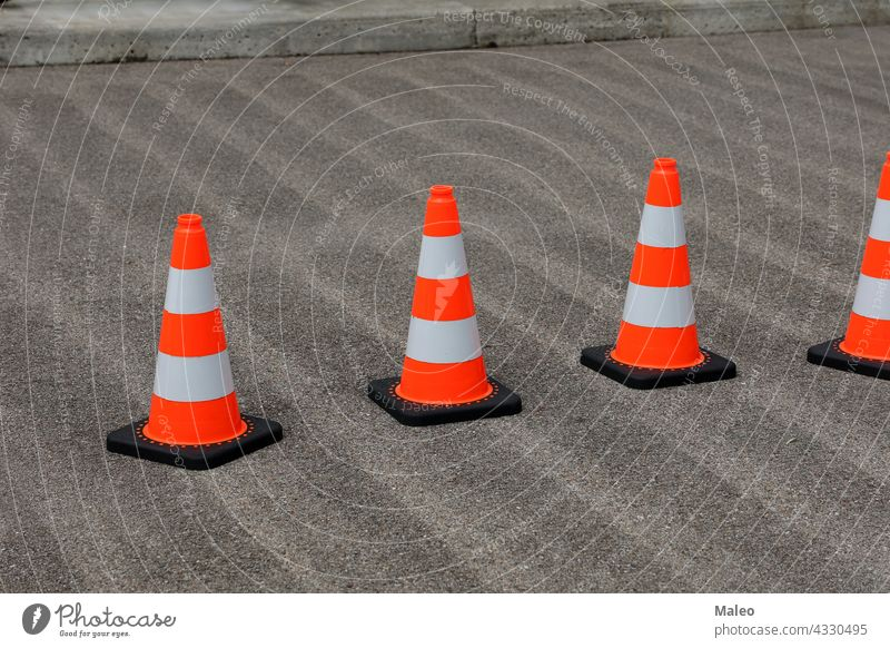 Traffic cones on the street secure the work traffic road safety sign construction symbol warning isolated plastic security stop icon barrier alert highway