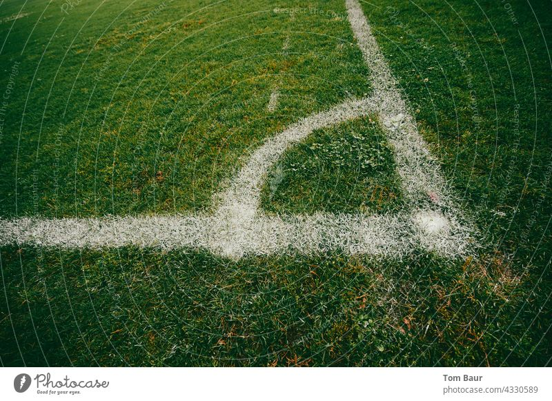 Corner of a football pitch - without corner flag Foot ball Football pitch Football stadium Soccer training Sports Ball sports Sporting Complex Colour photo