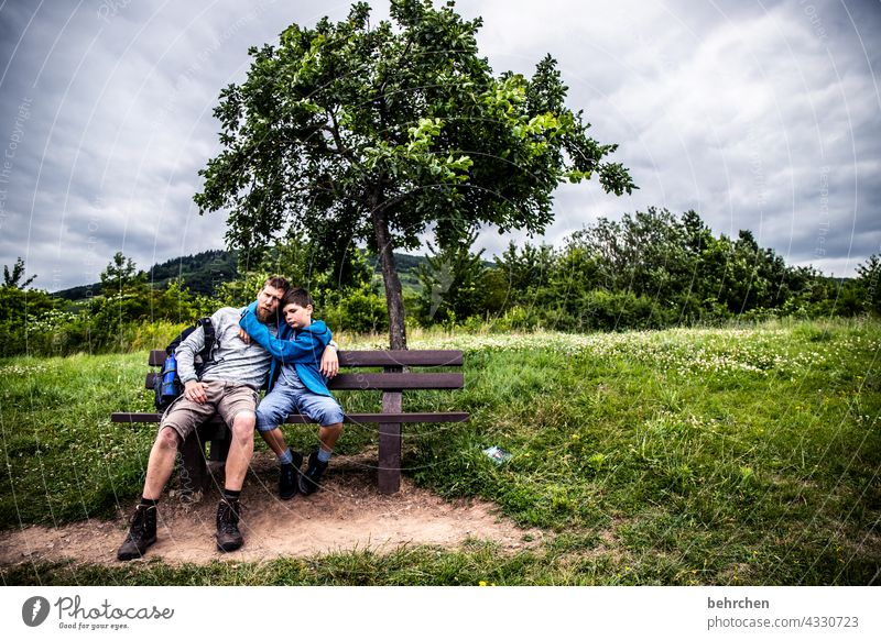 proximity Trip Contentment in common Together Father hikers Child Infancy Son Adventure Hunsrück Moselle valley Mosel (wine-growing area) Idyll