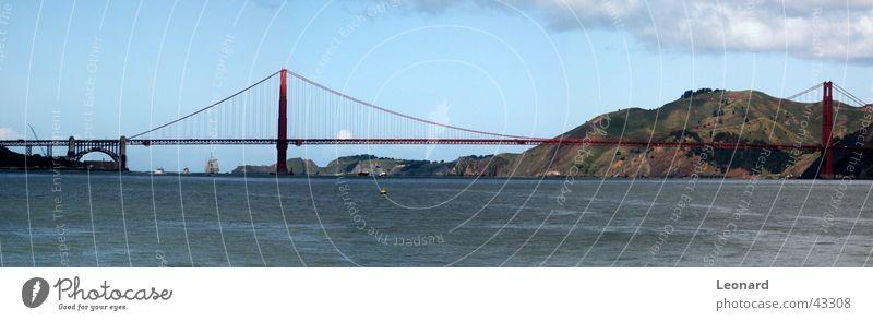 Sky Tree Ocean Clouds Mountain Watercraft Large Bridge USA Hill Americas Bay Sail Panorama (Format) Sailing ship San Francisco