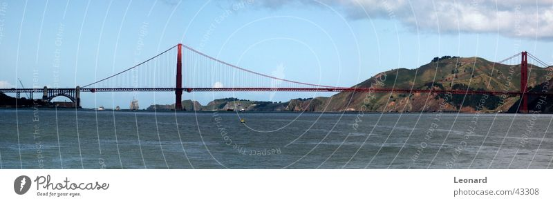 Sky Tree Ocean Clouds Mountain Watercraft Large Bridge USA Hill Americas Bay Sail Panorama (Format) Sailing ship San Francisco