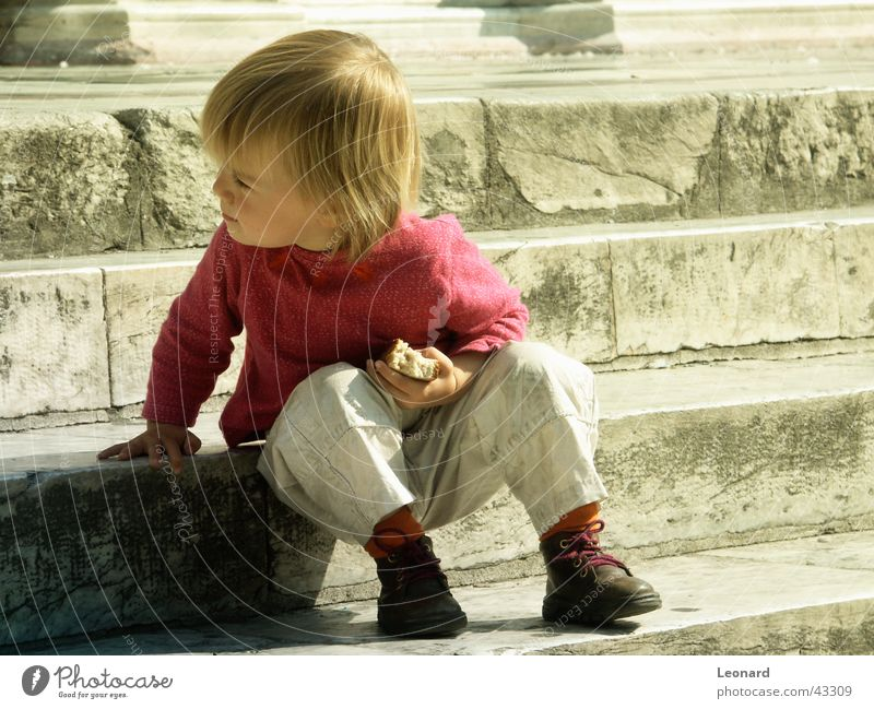 on the steps Child Bread Human being Sun Stairs Stride Shadow sight stair shade shine sunshine