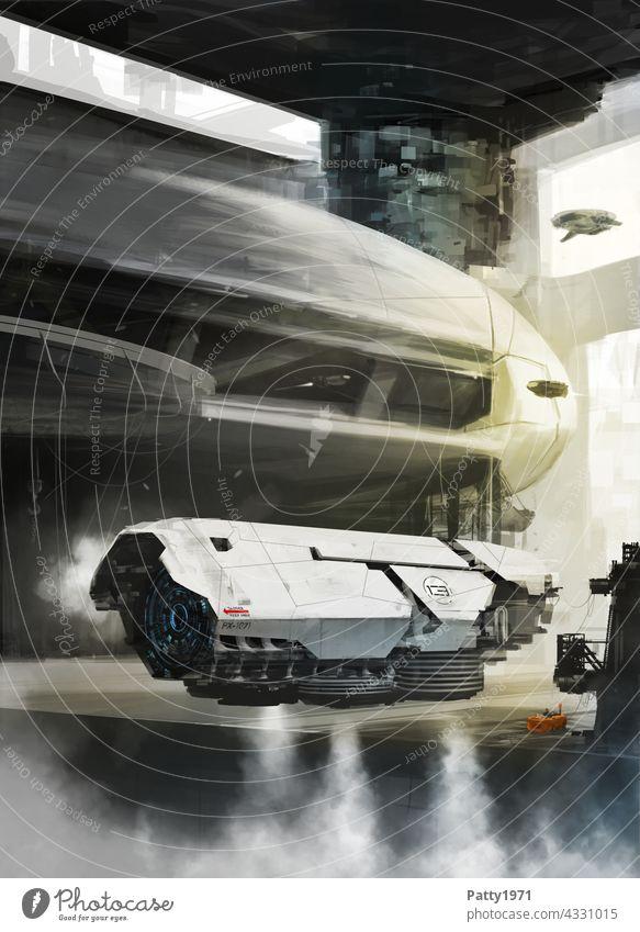 Futuristic flying machine in hangar. SciFi illustration Science Fiction Aircraft Technology Future Futurism Universe Industry Hangar Adventure launch steam UFO