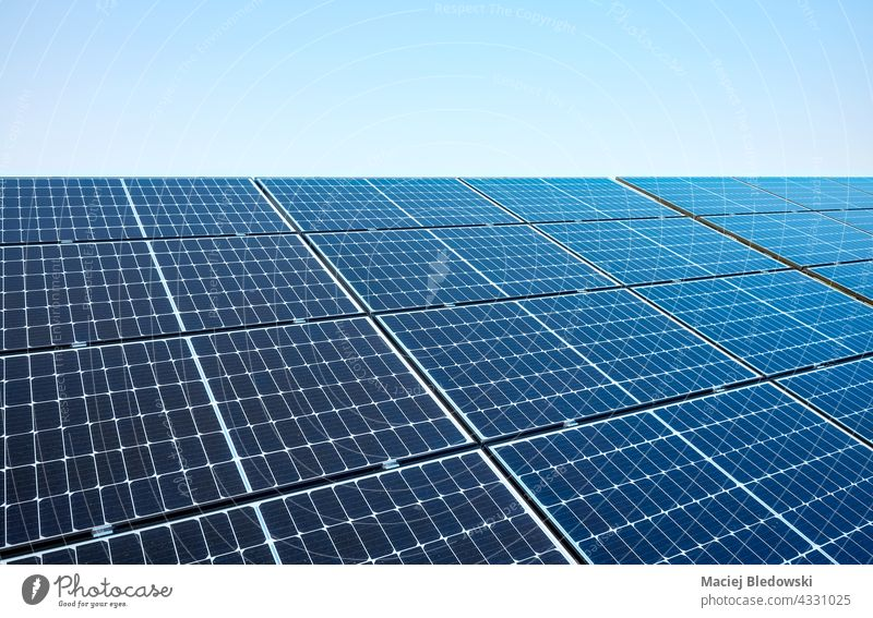 Picture of solar panel modules on a sunny day, selective focus. eco nature technology background blue energy photovoltaic alternative electricity power