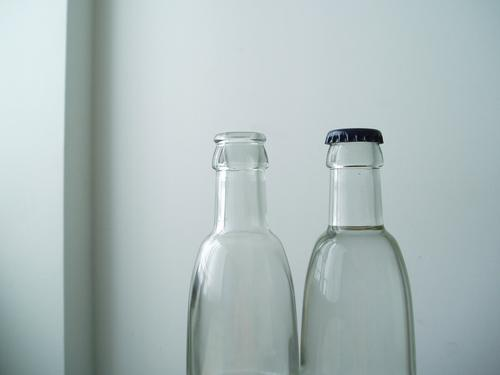 Empty bottle Transparent Wall (building) White Closed 2 Things Bottle Glass Closure Open Water Alcohol-fueled Difference Extra Deposit Exceptional