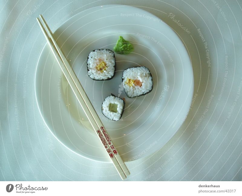 Lunch at Porsche Midday Sushi Chopstick Plate White Green Wood Nutrition Fish Rice chilli China Vegetable Delicious Noble