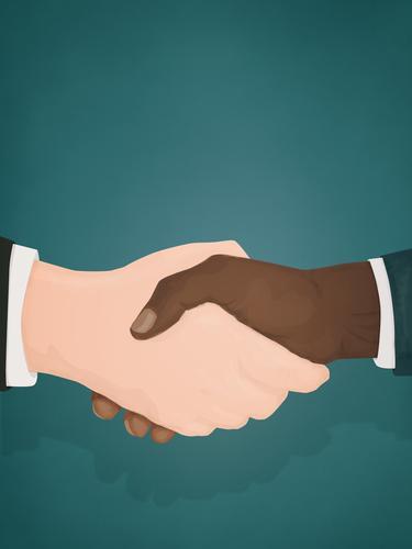 Two businessmen shaking hands handshake business men black man white man race racial equality BLM businessman male Racial equality racial justice
