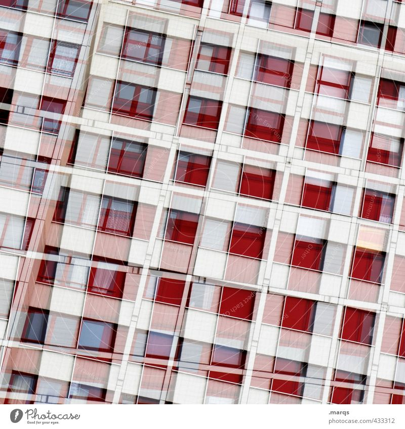 Colour White Red House (Residential Structure) Window Architecture Style Building Line Facade Living or residing Design Modern High-rise Perspective Many