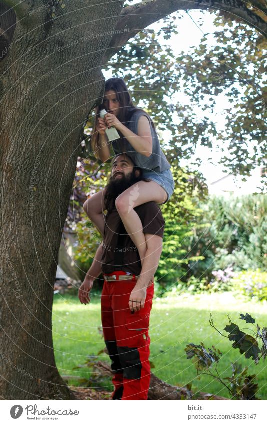 occupied l shoulders to lean on. Tree Man Woman Young woman Young man Couple piggyback care Youth (Young adults) Adults Human being Love Lovers Together Happy