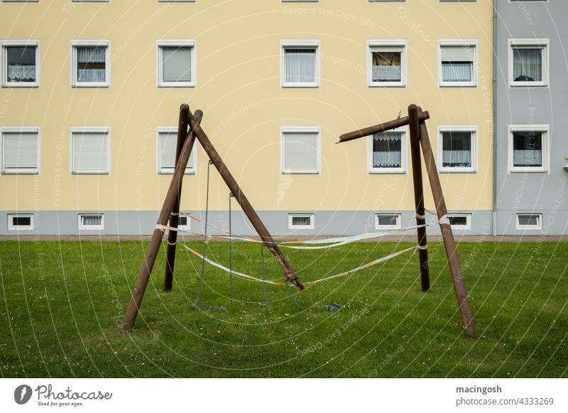 Rocked out Swing Broken Playground Playing Infancy To swing Deserted Joie de vivre (Vitality) Happiness Children's game Exterior shot Leisure and hobbies