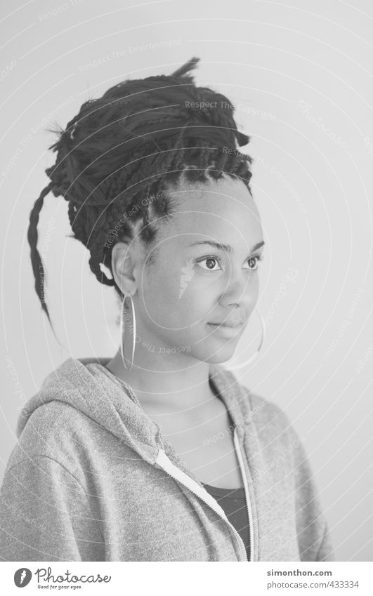Braids Beautiful Academic studies Hairdresser Young woman Youth (Young adults) Hair and hairstyles Black-haired Dreadlocks Afro Culture Optimism Perspective