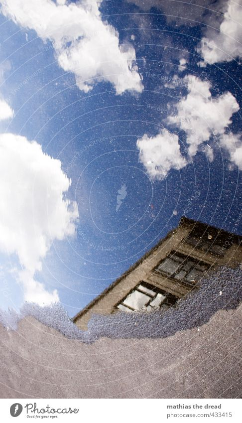 Sky Summer Clouds House (Residential Structure) Window Wall (building) Wall (barrier) Architecture Building Beautiful weather Uniqueness Tilt Asphalt Manmade structures Surface of water Puddle