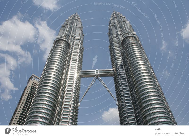 Petronas Twin Towers Energy industry Financial Industry Beautiful weather Kuala Lumpur Malaya Asia Capital city Downtown High-rise Bridge Architecture